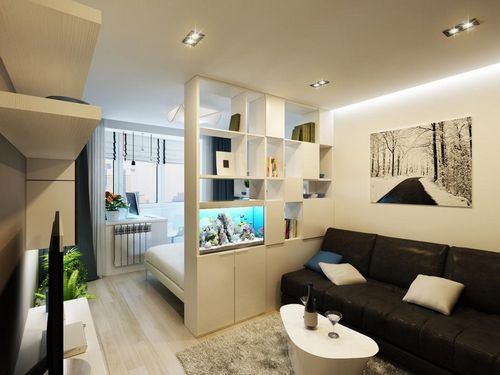 Дизайн интерьера гостиной-спальни 17 кв.м фото