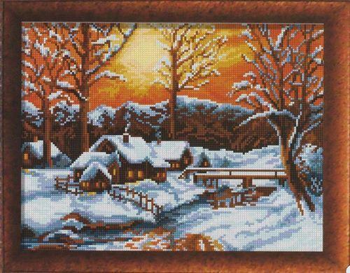 Зимний закат схема вышивки крестом 71