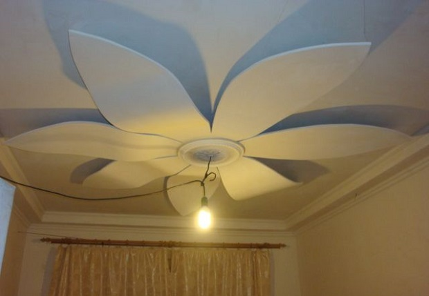 Цветок на потолке из гипсокартона своими руками 800