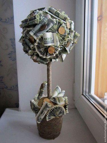 Топиарий из денег: фото, денежное дерево своими руками пошагово, мастер класс из бумажных денег, как сделать, видео-инструкция