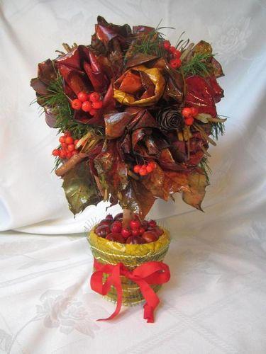 Топиарий из осенних листьев своими руками: пошагово из кленовых листьев, мастер класс из сухих листьев деревьев, как сделать поделки, видео